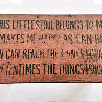 Vintage Wooden Child's Step Stool with Poem