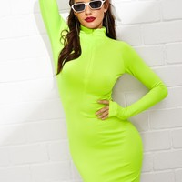 Neon Green Thumb Hole Bodycon Dress