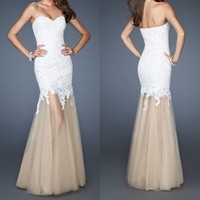 Sweetheart White Lace/Tulle Mermaid Pageant Dresses Evening Party Prom Dress