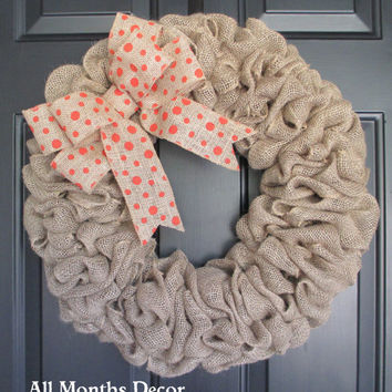 Burlap Wreath with Polka Dot Burlap Bow, Country, Spring Easter Fall Winter, Year Round, Fall, Porch Door Decor
