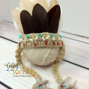 Indian, Indian Headdress, Head Dress, Newborn Headdress, Turquoise Indian, Newborn, Feather Headdress, Photo Prop, Photography Prop