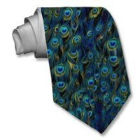 Vintage Pretty Peacock Bird Feathers Wallpaper Custom Tie