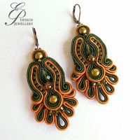Soutache earrings green and chopper earrings autumn gift for her fashionable gift unique art jewelry