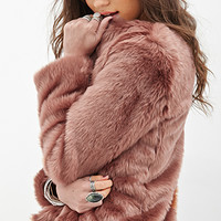 FOREVER 21 Collarless Faux Fur Jacket