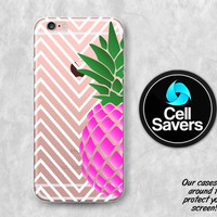 Pineapple Clear iPhone 6s Case iPhone 6 Case iPhone 6 Plus Case iPhone 6s Plus iPhone 5c Case iPhone 5 Clear Case Chevron Pattern Pink Cute