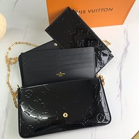 LV Louis Vuitton new ladies embossed letters patent leather three-piece chain diagonal bag shoulder bag Black