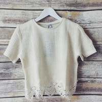 Germaine Lace Trim Ivory Tee
