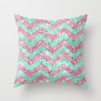 Chevron Pattern, Pink & Teal Throw Pillow by productoslocos | Society6