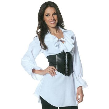 Women's Plus Size Laced-Front Pirate Blouse