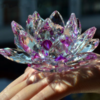 3.5 Inches Sparkle Crystal Glass Lotus Flower Craft Feng shui Home Decor Crystals Hue Reflection Art Flowers  with Gift Box