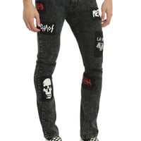 """XRay Jeans 32"""" Inseam Grey Wash With Patches Super Skinny Jeans"""