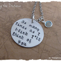 Long Distance Relationship Necklace Personalized with Birthstone