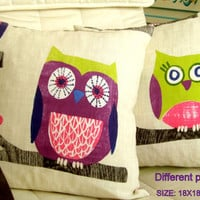 Reversible Owl pillow cover 18x18 – Children cushion decor