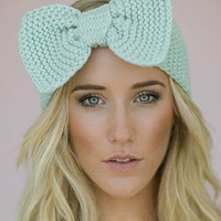 Blue Bowknot Knit Headband