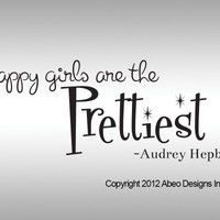 Happy Girls are the Prettiest Girls Audrey Hepburn Wall Decal Sticker Quote