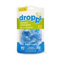 Dropps HE Laundry Detergent Pacs, Fresh Scent, 80 Counts