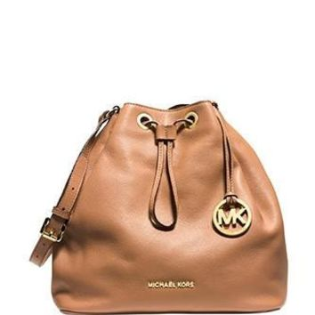 Michael Michael Kors Large Jules Leather Drawstring Shoulder Bag