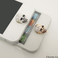1PC Bling Crystal Plated REAL Gold Skull iPhone Home Button Sticker for iPhone 4,4s,4g, 5 & iPad, Phone Charm