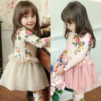Hot Sale Spring&Autumn Kids Girl Clothing Korean Floral Flower Princess Party Dresses Kids Full Sleeve Dress Size 3-7 Years SF06-27