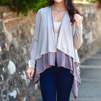 Two-Tone Layer Cardigan {Moss Brown}