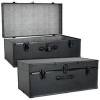 Seward Trunk Barracks Footlocker Trunk in Black with Black Binding