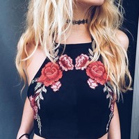 Flower Embroidery Print  Halter Vest Tank Top Cami