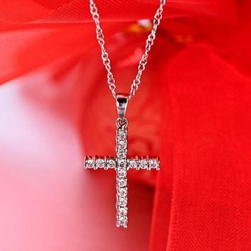 Classic Simple Cross Pendant Necklace Silver Color Austria Crystal Pave Necklace Jewelry x307
