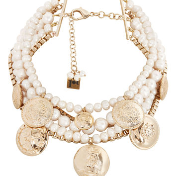 Mixed Pearl And Coin Statement Necklace