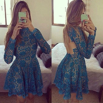 Blue Floral Lace Backless Pleated Dress