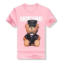 """Moschino"" Unisex Lover Casual Cute Cartoon Bear Letter Print Short Sleeve T-shirt Top Tee"