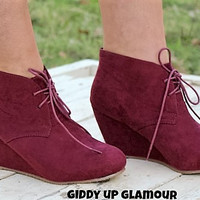 Lace Up Wedge Bootie in Maroon