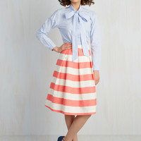 Whole Yacht of Love A-Line Skirt in Pink   Mod Retro Vintage Skirts   ModCloth.com