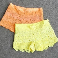 Low waist shorts neon fluorescent color lace hotpants female