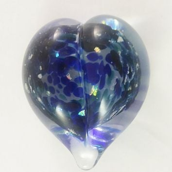 Handmade Art Glass Heart Paperweight, Mixed Blues and Rainbow Dichroic, Mother's Day Gift