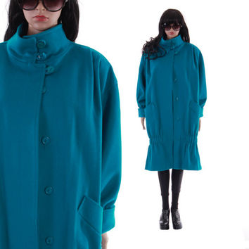 Electric Blue Wool Coat Avant Garde Mermaid Drop Waist Cocoon High Collar 80s 90s New Wave Vintage Winter Outerwear Womens Size Large XL