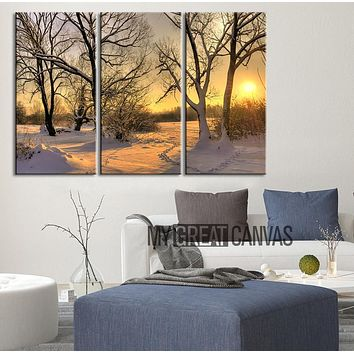 Large Wall Art Landscape Canvas Print Sunrise in Forest in Winter 3 Panel Wall Art Print Winter