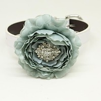 Gray flower dog collar, Gray leather dog collar, Girl collar, Wedding accessory, beaded Crystal dog collar, dog of honor, Handmade