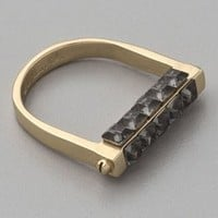 A.L.C. Handcuff Ring With Square Stone Top