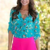 Humming About Blouse-Turquoise