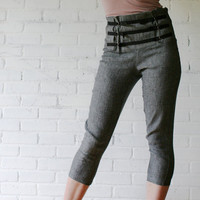 $78.00 linen capri jeans with high waisted yoke made to order by sandmaiden