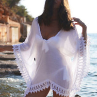 Women Beach Dress Bikini Cover Up Lace Hollow Crochet Swim Suit Swimwear