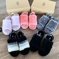 UGG popular women casual hair tugs fashion color matching velvet wool slippers sandals