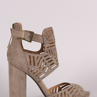 Qupid Perforated Ankle Cuff Peep Toe Chunky Heel