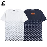 LV Summer new gradient full print men and women's couples loose versatile crew neck short sleeves