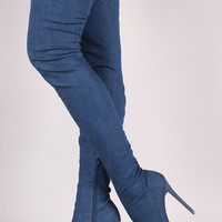 Liliana Denim Over-The-Knee Pointy Toe Boots