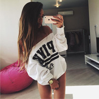 The new sexy brand printing letter word shoulder sweater HT0771