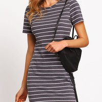 Contrast Striped Casual T-shirt Dress