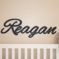 """Extra large Wooden name sign 11 - 12 """" letters Baby Name Plaque  PAINTED nursery name g nursery decor wooden wall art, above a crib"""