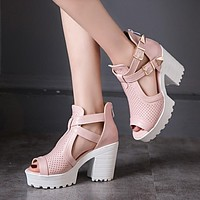 Open Toe Buckle Platform Sandals High Heels Chunky Heel 4877