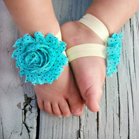 Baby Barefoot Sandals .. Turquoise Flower with Black Polka Dots .. Toddler Sandals .. Newborn Sandals